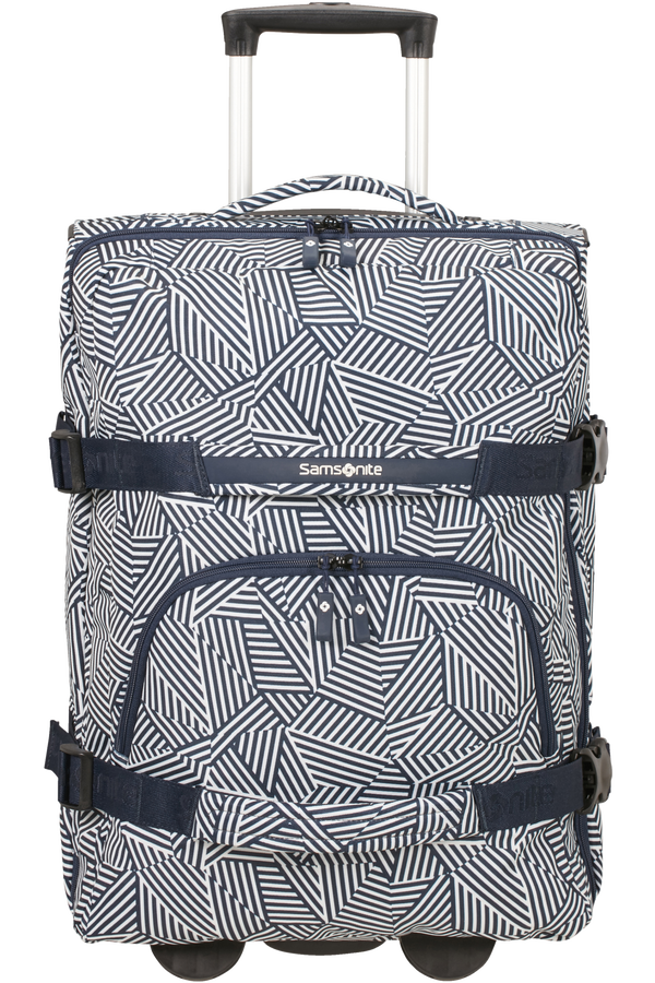 Samsonite Rewind Duffle with wheels 55cm  Navy Blue Stripes