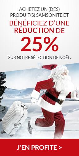 Achetez un (des) produit(s) Samsonite et bénéficiez d'une réduction de 25% sur notre sélection de Noël (uniquement valable sur cette commande).
