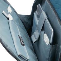 Compartimentage interne précis à base d'icônes, y compris une poche à protection RFID dans la poche frontale.